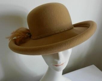Wool Brim Camel Felt Hat with Feather