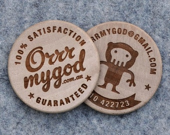 100 Engraved Organic Wooden Business Cards / Double side