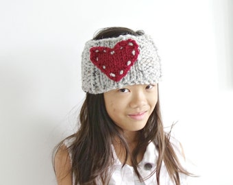 Heart Knitted Headband Ear Warmer in Marble Grey and Cranberry / L'AMOUR