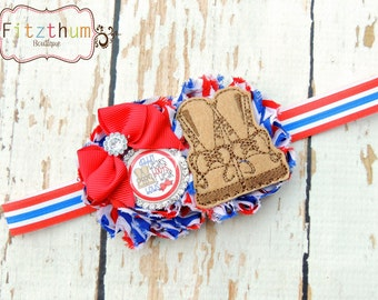 Military dad bow - Patriotic bow - Military headband - Red white blue headband - Combat boots bow - Daddy hair bow - 4th of July bow