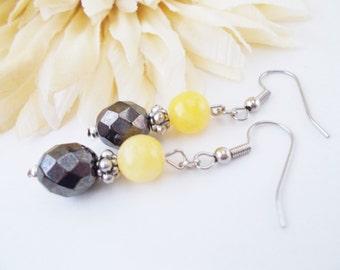 Yellow Gray Earrings, Bridal Earrings, Yellow Drop Earrings, Wedding Earrings, Nickel Free Earrings, Clip On Earrings, Mother of Bride Groom