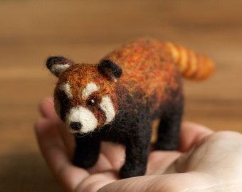 Red Panda Needle Felted Soft Sculpture, Red Bear-Cat, Felt Animal, Nature Inspired, Collectible
