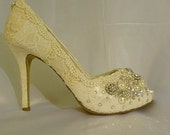 Lace Wedding Shoes . Ivory Lace Bridal Shoes . High Heel Wedding Shoes . Sparkling Wedding Shoes . White Wedding Shoes . Free Shipping in US