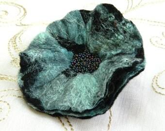 Black Poppy Flower Pin Corsage Brooch Summer Wedding Fashion Handmade Felt and Lace