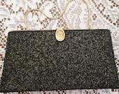 Vintage Black Glitter Evening Handbag
