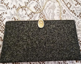 Vintage Black Glitter Evening Handbag