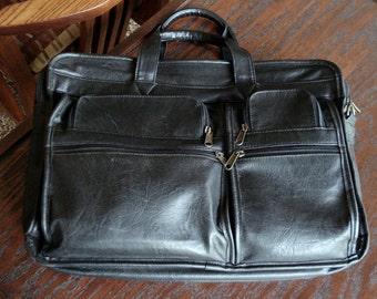 Black Leather Briefcase, Black Leather Overnight Bag, Computer Messenger Bag