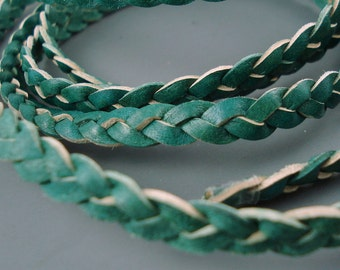 Leather, Four Feet 7MM Flat Green Braided Leather, 3 Ply 3MM Braided Leather