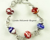 SALE Bracelet of Red White and Blue Lampwork Glass Beads