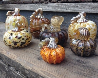 Custom Blown Glass Pumpkin Collection