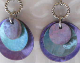 Plum Purple and Turquiose Blue Mussel Shell Disk Earrings