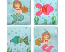 Set of 4 Little Mermaids DIY Instant Digital Nursery Artwork for Girl Baby Room, Nursery or Play Room