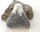 snowcapped mountain knitted brooch, winter accessory