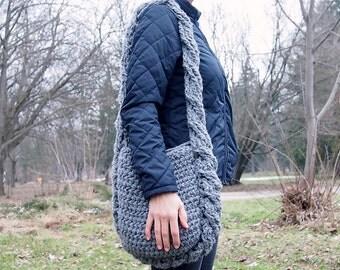 Crochet Pattern cable messenger bag  bulky cross body bag ,  DIY photo tutorial, Instant download