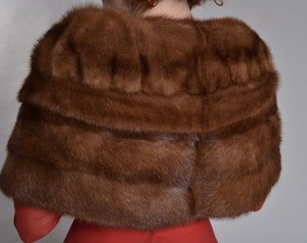 Vintage 1950s Mink Fur Stole - Hudson's Bay Co Autumn Haze - Winter Bridal Fashions