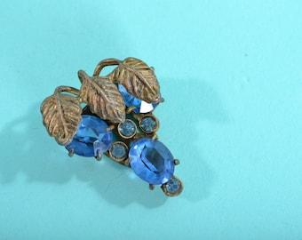1930s Blue Rhinestone Dress Clip - Vintage Jewelry - Bridal Fashions