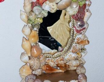 Hollywood regency hand made OOAK sea shelled mirror shelf