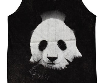 Panda Animal Bleached Stonewashed Animal Art Design Tank Top Women Shirt Tunic Singlet Tank Top Size M - IZJBT144