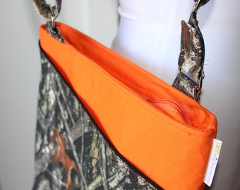 Camo and Orange Cross Body Hipster Bag