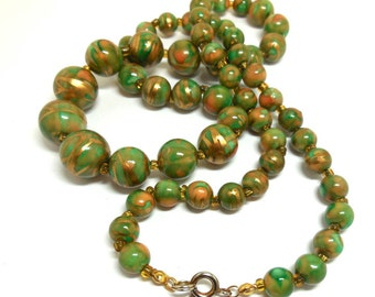 70s Necklace Green Orange Gold Faux Marbeled beads Fall Retro boho Layer for fun and Fashion