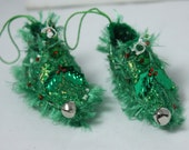 Fairy Shoes christmas ornament holly green and red faerie elf shoe miniature footwear fairy tree decoration holiday decor Christmas Ornament