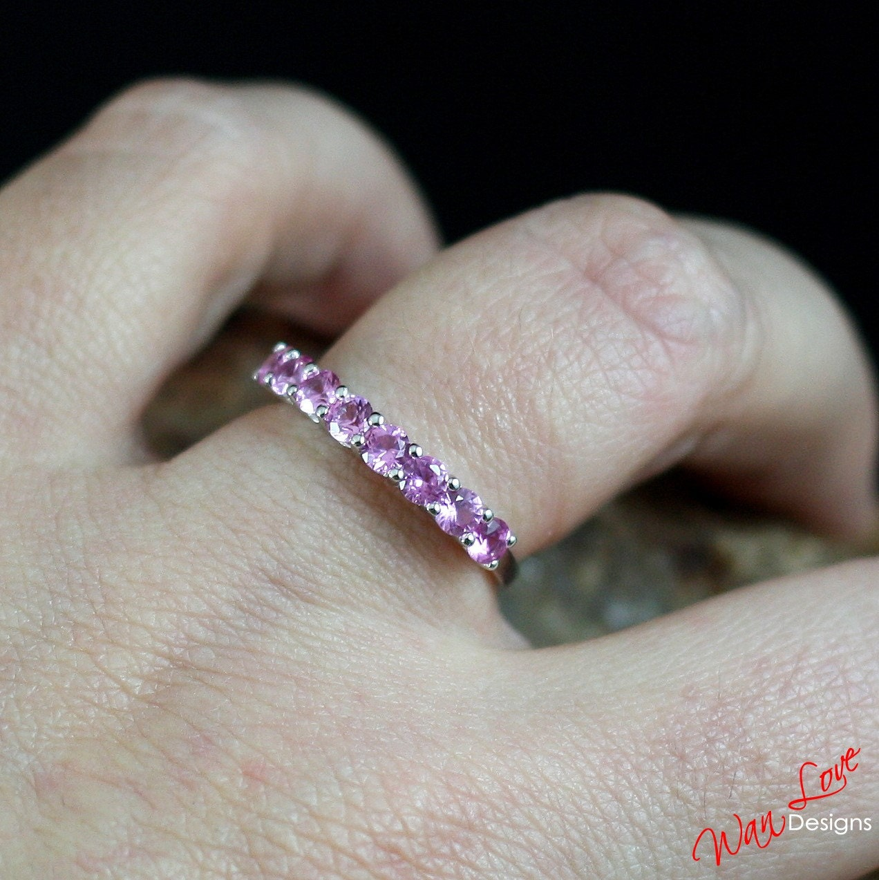 Pink Sapphire Wedding Band Ring Eternity Band Stackable Round