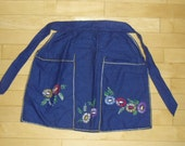 Vintage Apron - Cobalt Blue Half Apron, Embroidered Flower Apron, Kitchen Apron, Large Pockets, Hostess Apron