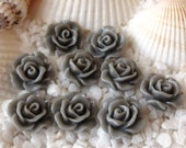 Resin Open Flower Cabochon 10mm x 4.5mm - 25 pcs - Gray