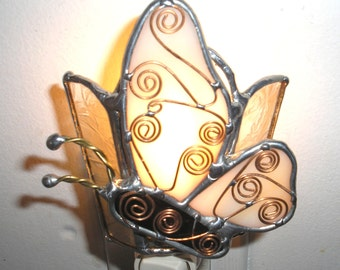 LT Stained glass Butterfly night light lamp OOAK  orange accent lamp wall decoration my hand made in the USA lighting unique gift glass art