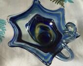 Art Glass Vase Blue Clear Flower Cornucopia Hand Blown