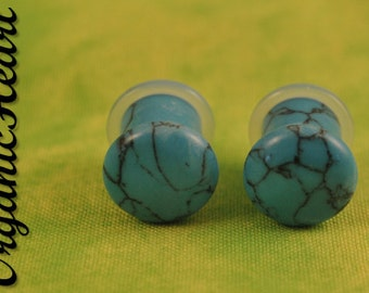 "Turquoise Single Flare Stone Plugs 8g-1/2"" (Sold as Pair) Handmade Body Jewelry Organic Plugs (8g, 6g,4g, 2g, 0g, 00g, 1/2"")"