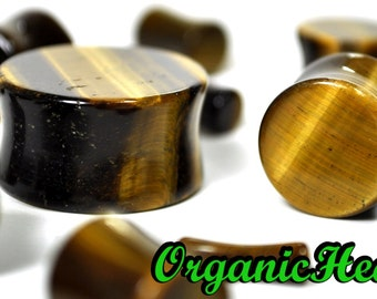 "Tigers Eye Double Flare Plugs 8g-1"" (Sold as Pair) Handmade Jewelry (8g, 6g, 4g, 2g, 0g, 00g, 7/16"", 1/2"", 9/16"", 5/8"", 3/4"", 7/8"", 1"")"