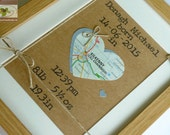 The Map of New Life (2) - New Baby Bespoke Map Heart - Newborn Baby Girl Boy Framed Wall Art  - Handmade in Ireland