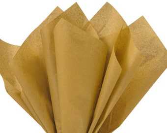 Tissue Paper . Antique Gold   24 Sheets . Tan . DIY Wedding Decor  Gift Wrap . Craft Supplies  DIY Pom Pom Supplies