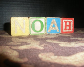 Vintage Colored Wooden Children Toy Blocks Spelling NOAH Wood Block Names Words