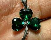 Irish Green Silver Shamrock Necklace - Three Leaf Clover Necklace - Valentines Day, Spring Wedding, Mother Day Gift