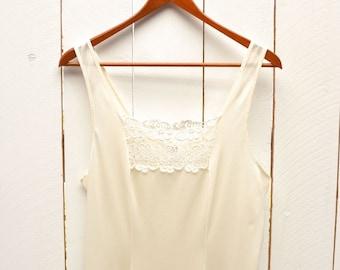 Lace Full Slip 1960s Cream White Vintage Slip Dress Union Made 36 Inch Bust Small Medium