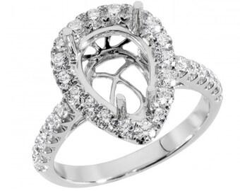 Diamond Ring Setting, Pear Shape Ring, Semi Mount Ring, Diamond Engagement Ring Setting,  2.5Ct. Center Pear Shape Diamond Engagement Ring