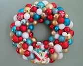 """18"""" Christmas Wreath TURQUOISE  RED Gold and White CHRISTMAS Ornament Wreath with Sleigh of presents"""