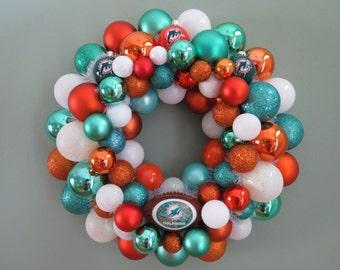 MIAMI DOLPHINS Football Ornament Wreath
