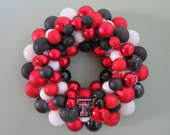 TEXAS TECH Red RAIDERS Ornament Wreath Football Shatterproof wreath