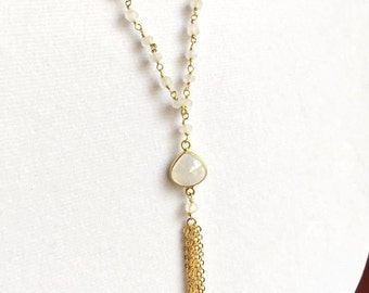 Gold Long Moonstone Pendant Necklace. Opal Necklace. Gemstone Necklace. Beaded Necklace. Layered.Tassel Necklace.Fringe.Simple Gold Necklace