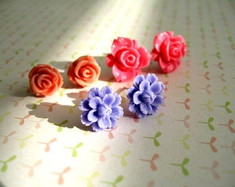 Orange Purple Hot Pink Resin Flower Post Earrings, Flower Resin Earrings, Resin Cabochons, Flower Earrings, Rose Earrings