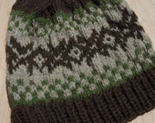 Adult Wool Hat with snowflakes, brown, green and cream
