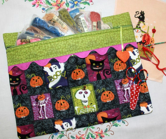 Halloween Scaredy Cat Blocks Cross Stitch, Sewing, Embroidery Project Bag