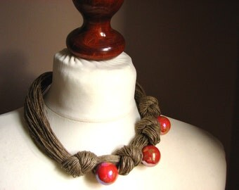 Ceramic GOLDEN  - ORANGE - linen necklace