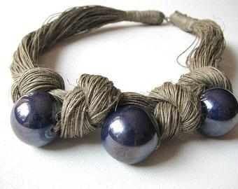 Ceramic Blue - linen necklace