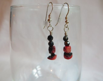 Rustic Red Earrings, Earrings, Dangle, Red, Cubes