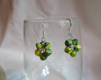 Green Flower Earrings, Earrings, Dangle, Green, Flower
