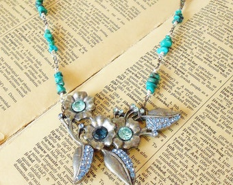 Blue Floral Statement Necklace Rhinestone Flowers Turquoise Beads Mixed Metals Blue Grey Gunmetal chains gemstone